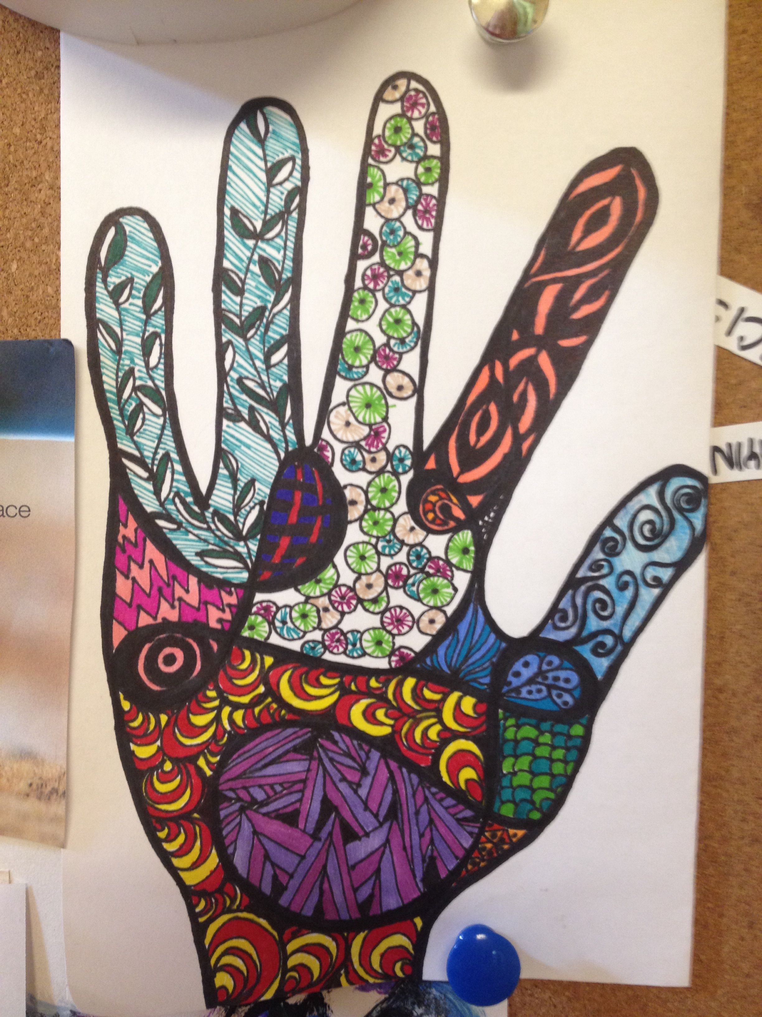 Color zentangle hand by Jessica Shafer