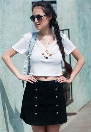 Vintage Black Suede A Line Skirt  £20.00