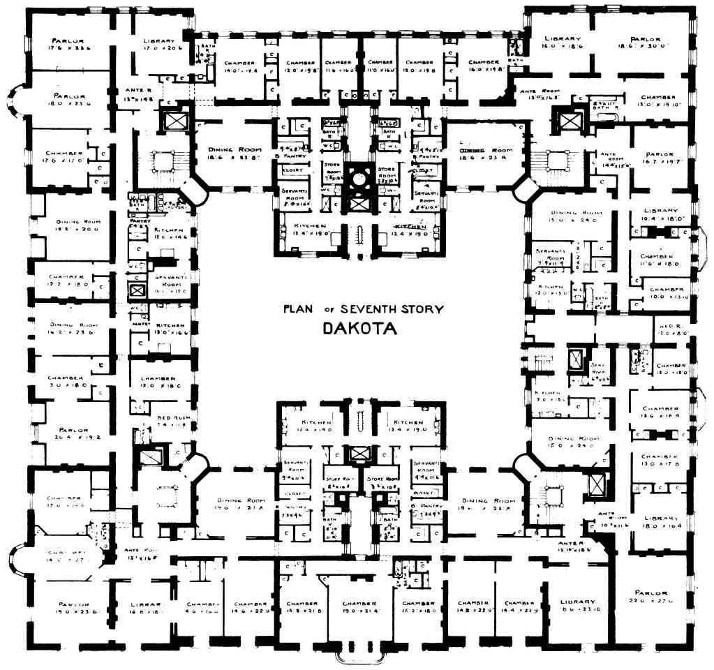 The famous dakota new york city home of many including for Famous building blueprints