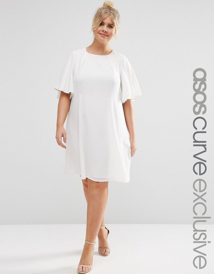 Image 1 of ASOS CURVE Swing Dress with Ruffle Sleeve