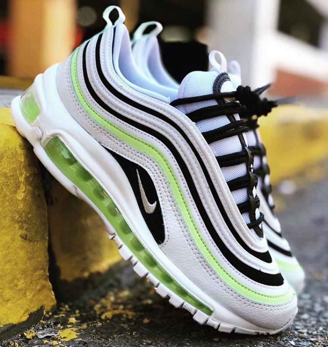 Livekickz On Instagram Nike Air Max 97 White Grey Black Volt All Men Sizes Available Now Online At Www Live K Nike Shoes Air Max Nike Air Max 97 Nike Air Max