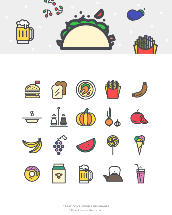the food and beverage pack is quirky and unique it is a mix of hand drawn style icons featuring food and beverages that you can use for any restaurant or