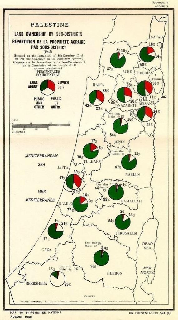 1950 United Nations map of Palestine Oriente médio