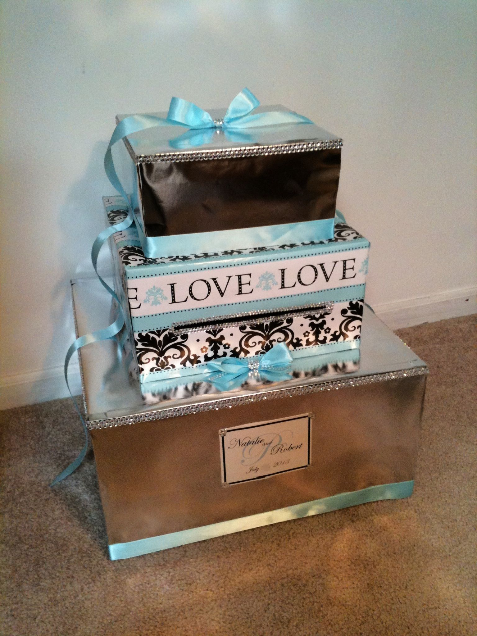 3 Tier Wedding Card Box I Made Light Blue Ribbon Gem