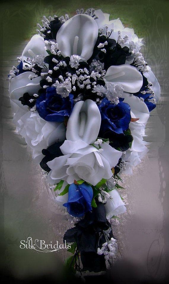 Royal Blue Black And White Bridal Bouquet Silk Wedding Flowers Cascade Bride Calla Lilies