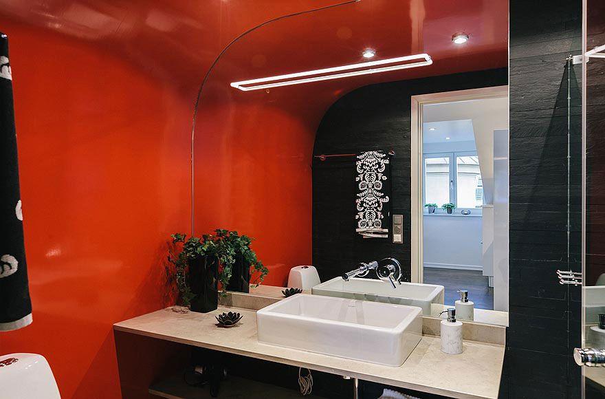 Black Orange Bathroom Stylish Modern Apartment Stockholm
