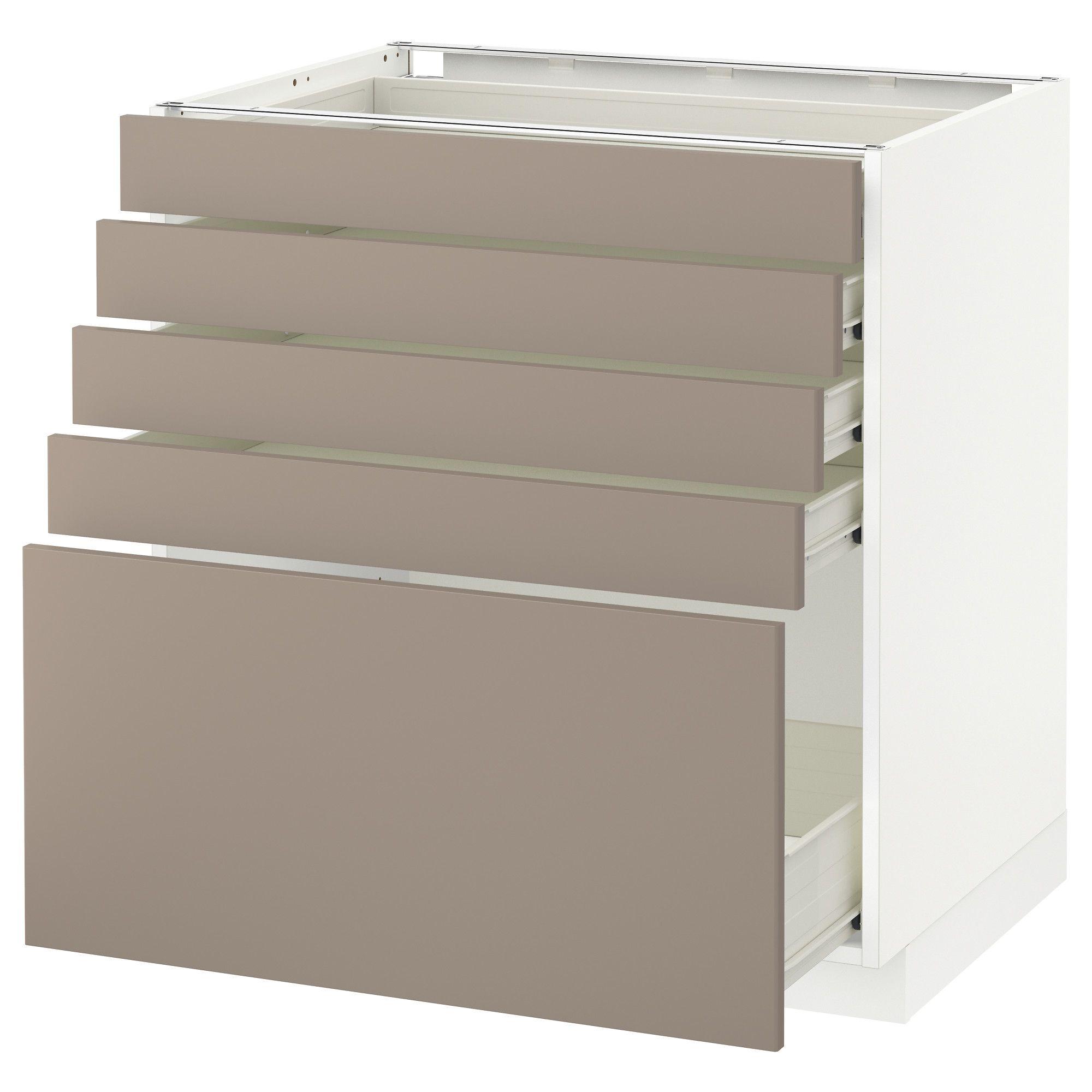 METOD F–RVARA Unterschrank mit 5 Schubladen weiß dunkelbeige