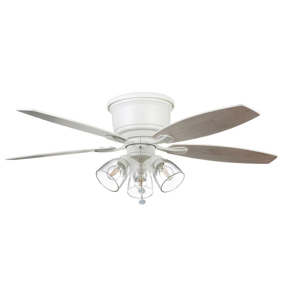 Hampton Bay Stoneridge 52 In Matte White Hugger Led Ceiling Fan With Light Kit 51823 In 2020 Ceiling Fan With Light Ceiling Fan Fan Light