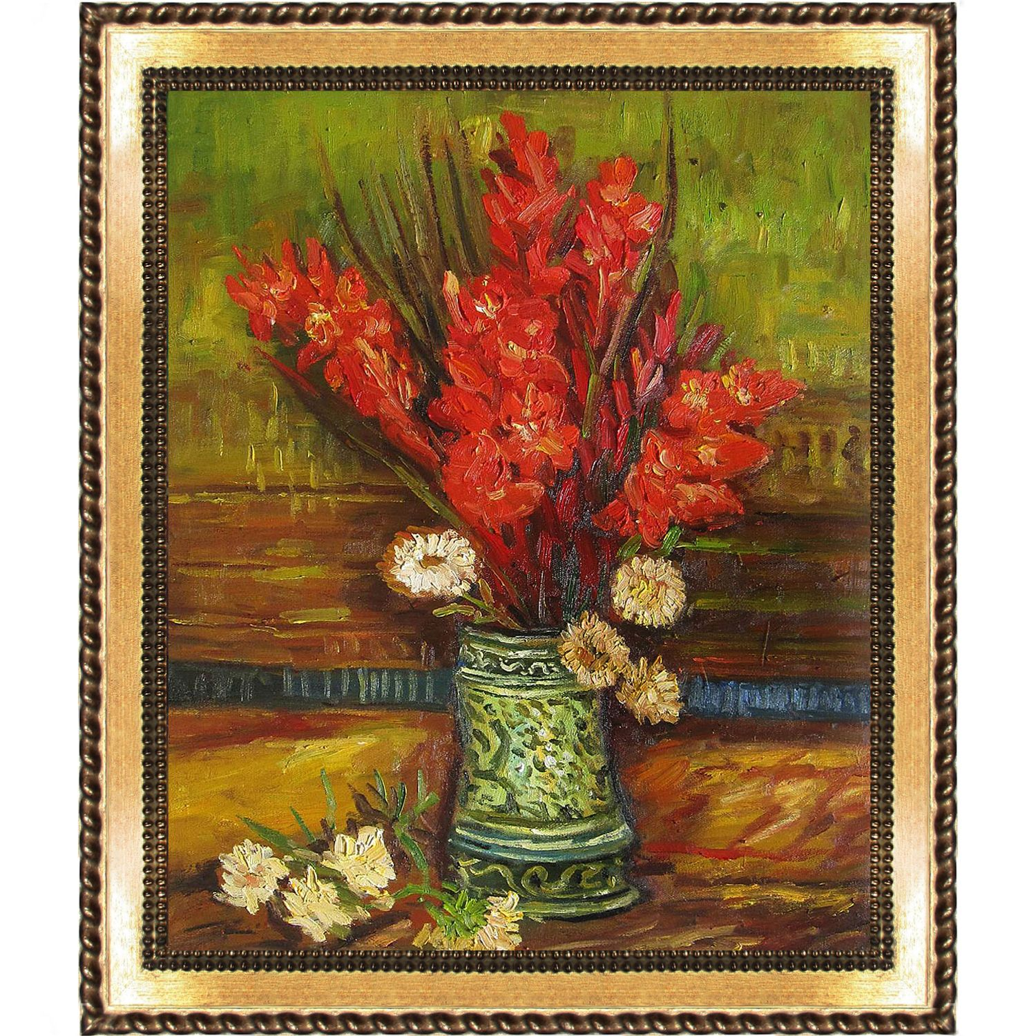 Vincent Van Gogh Vase with Gladioli Hand Painted Framed Art