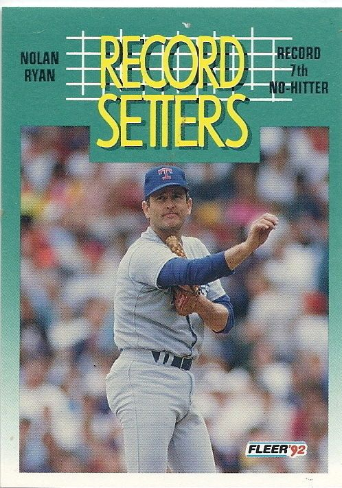 Details About 1992 Fleer Nolan Ryan Record Setters 7th No Hitter One