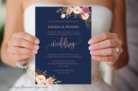 Navy Wedding Invitation Template Pink C Boho Chic Fl Printable 5x7 Card Fits Vistaprint U