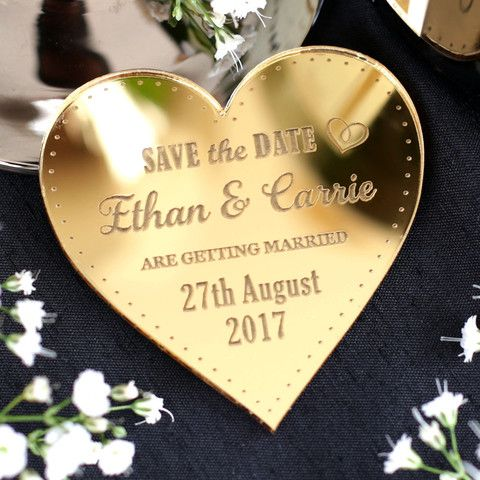 Personalised Wedding Save The Date Magnets Gold Hearts Nivi Design