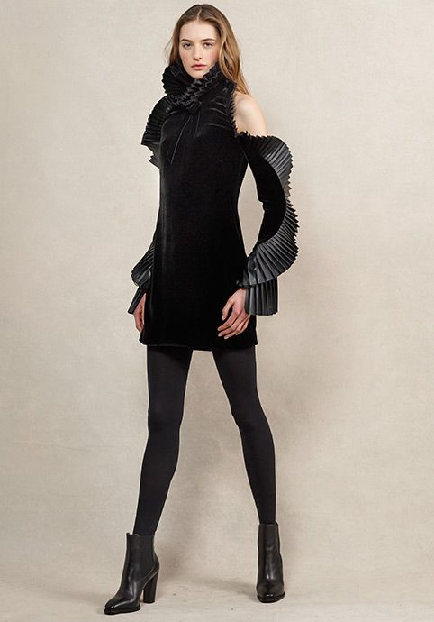 Priscilla Leather Trim Dress - RalphLauren.com