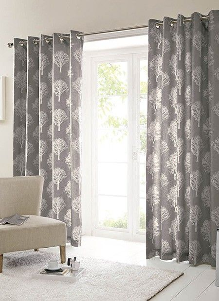 Woodland Trees Eyelet Charcoal Ready Made Curtains - ready made curtains