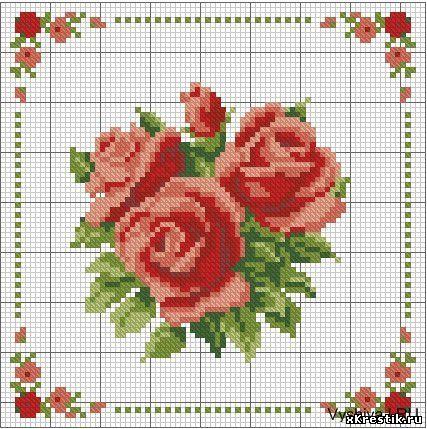 Роза простая схема вышивки крестом