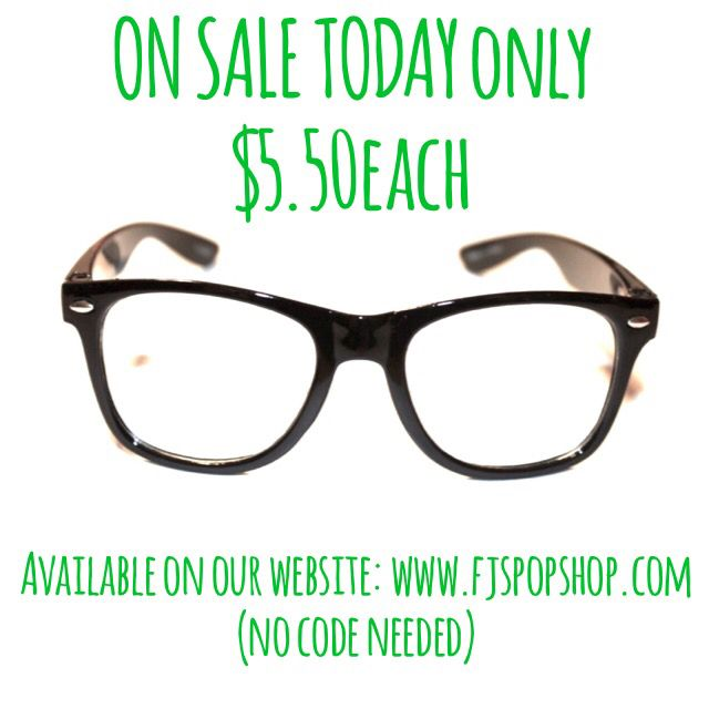 """Today only have you heard!!! No code needed for discount! Just go on our website and select the """"Classic kid hipster glasses"""" #fjspopshopkids"""