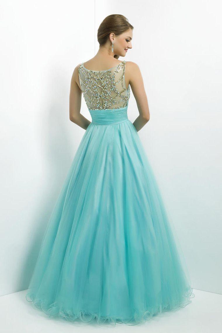 prom dress scoop neckline mesh illusion beaded bodice tulle