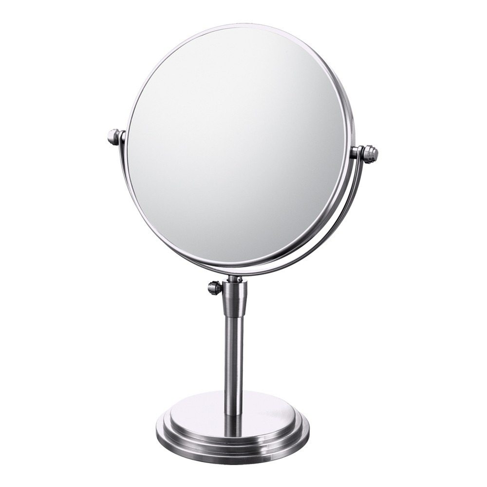 Classic Adjustable Free Standing Magnified Makeup Bathroom Mirror Chrome Bathroom Mirror Image In 2020 Adjustable Mirror Tilting Bathroom Mirror Vanity Mirror