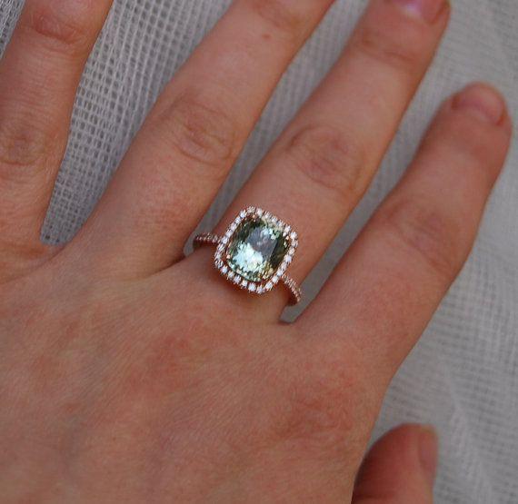 4ct Jasmine green Aquamarine halo diamond ring cushion cut 14k