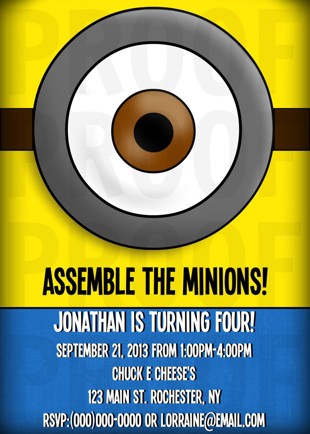 Free Printable Minion Invitations The kids 4th Birthday