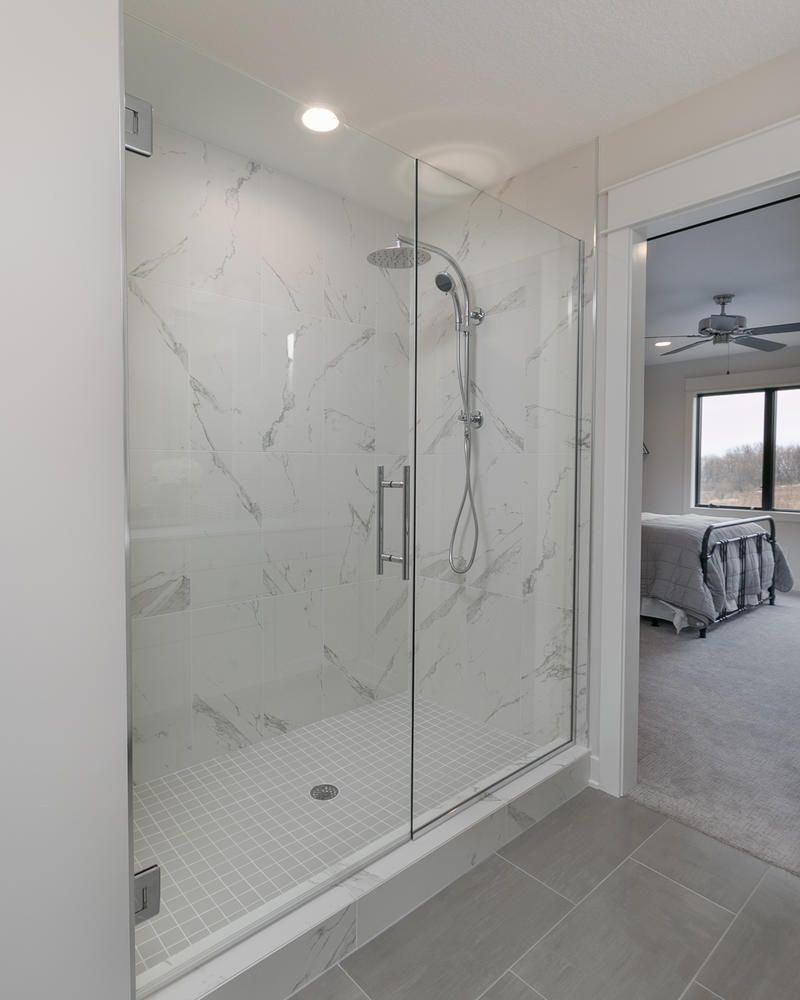 Master Bath With Marmi Matt Tile In 12x24 With Gray Square Tile In White Grout For The Flooring Tile Bathroom White Bathroom Tiles Grey Bathroom Tiles