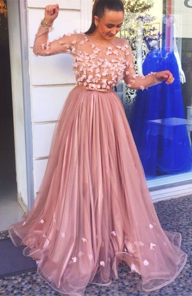 a23baa50419 A-Line Round Neck Long Sleeves Light Champagne Tulle Prom Dress with ...