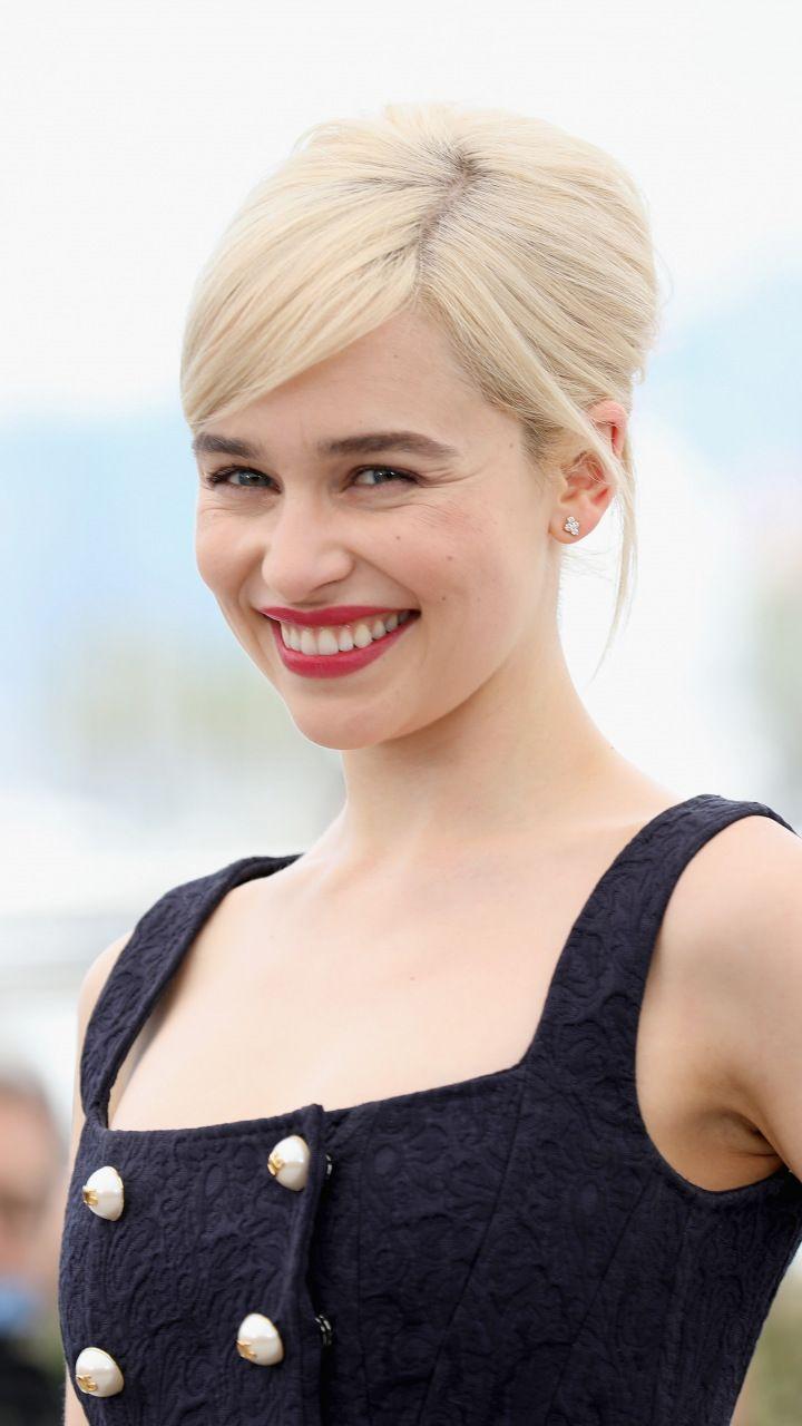 2018, Red lips, Emilia Clarke, smile, 720x1280 wallpaper ...
