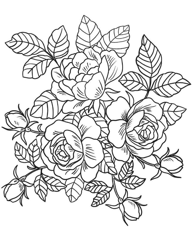 400 Best Coloring Pages 15 Flower Coloring Pages Coloring Pages Instant Download In 2020 Rose Coloring Pages Detailed Coloring Pages Printable Flower Coloring Pages