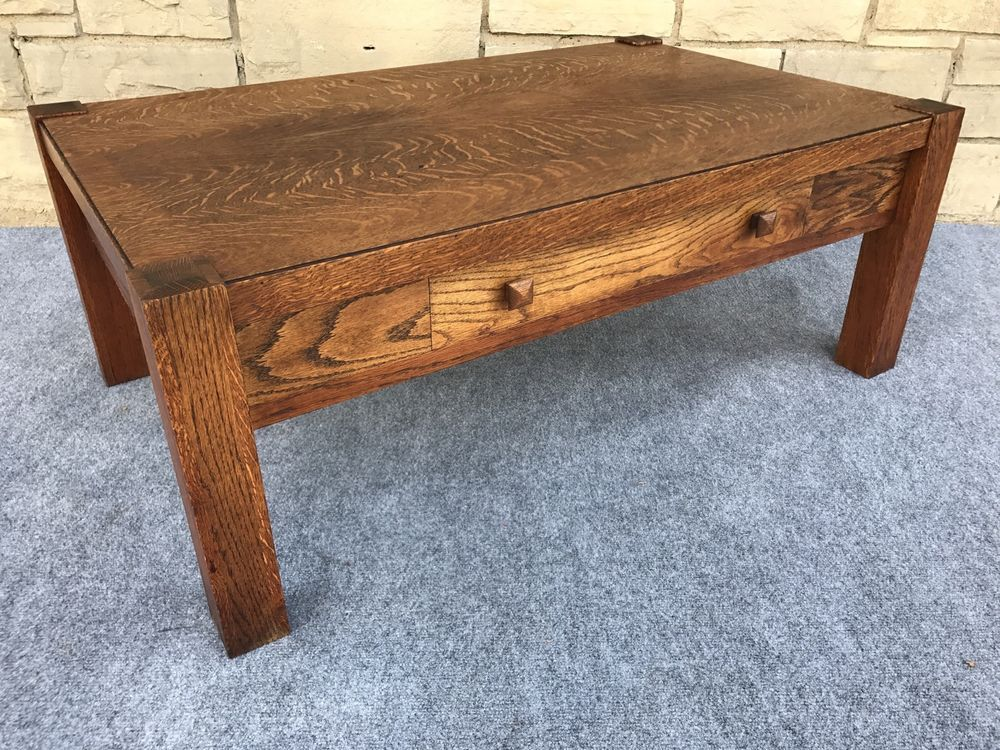Antique Craftsmen Arts & Crafts Mission Oak Style Library Coffee