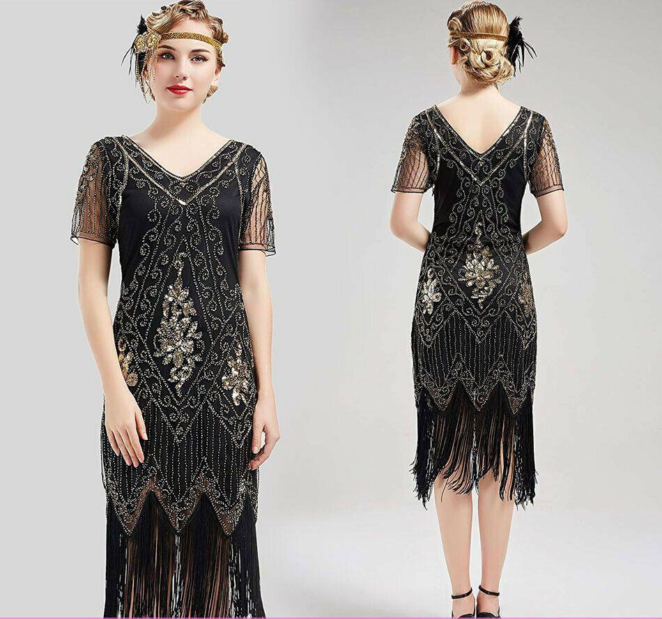 1920s dress womens flapper short sleeve dress gatsby