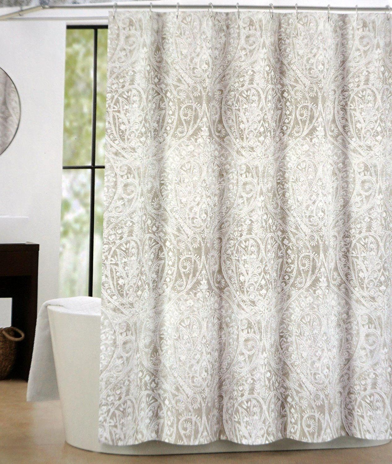 Tahari Fabric Shower Curtain Taupe Beige White Paisley Floral