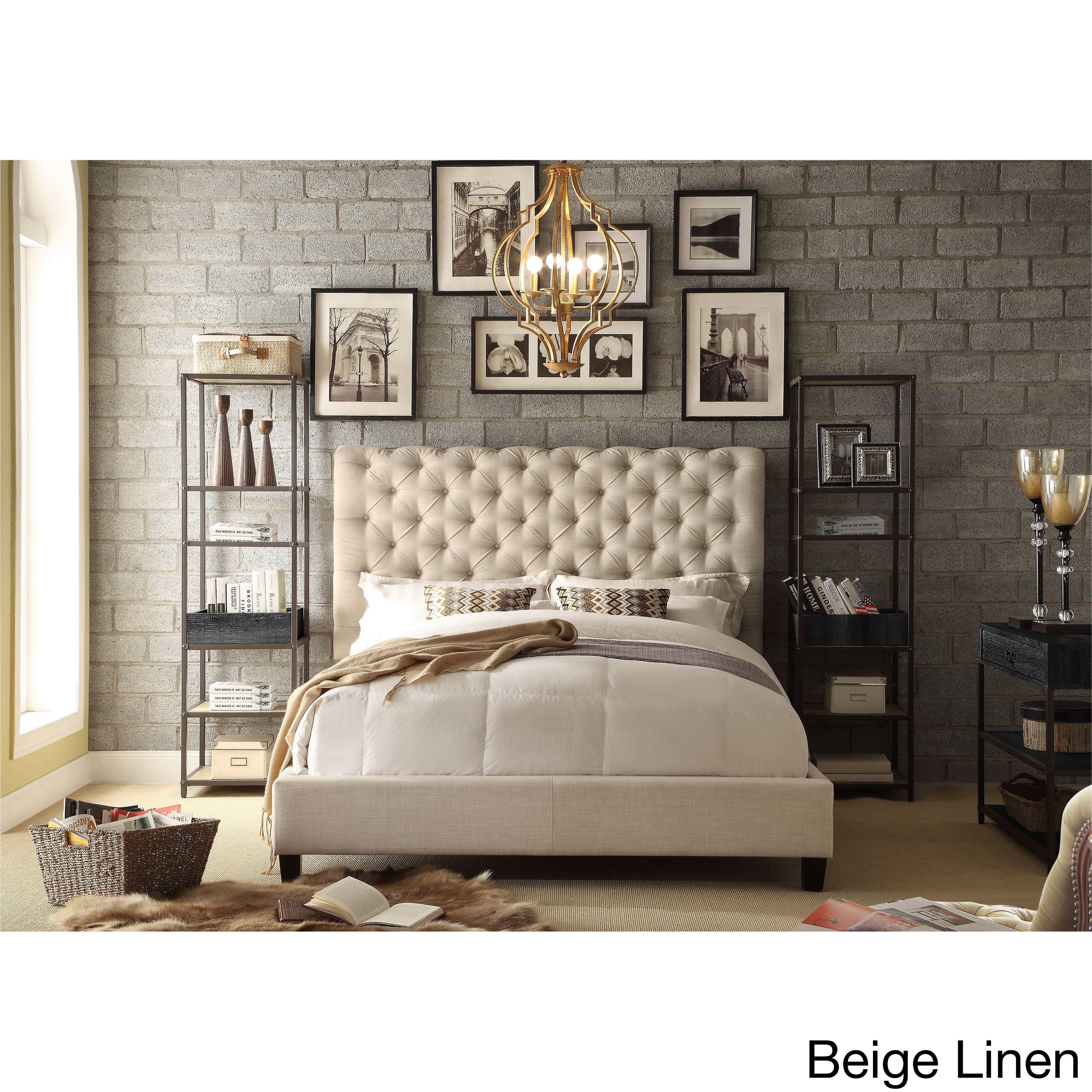 Moser Bay Furniture Calia Tufted Upholstered Platform Bed Beige