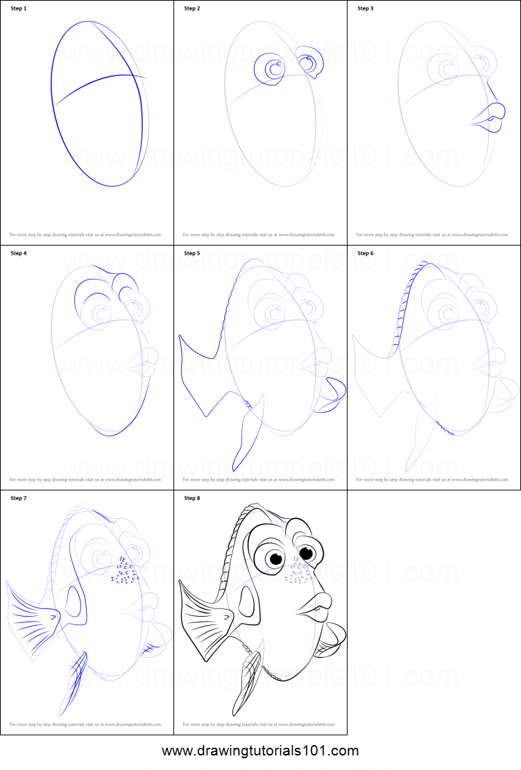 How to Draw Baby Dory from Finding Dory - DrawingTutorials101.com