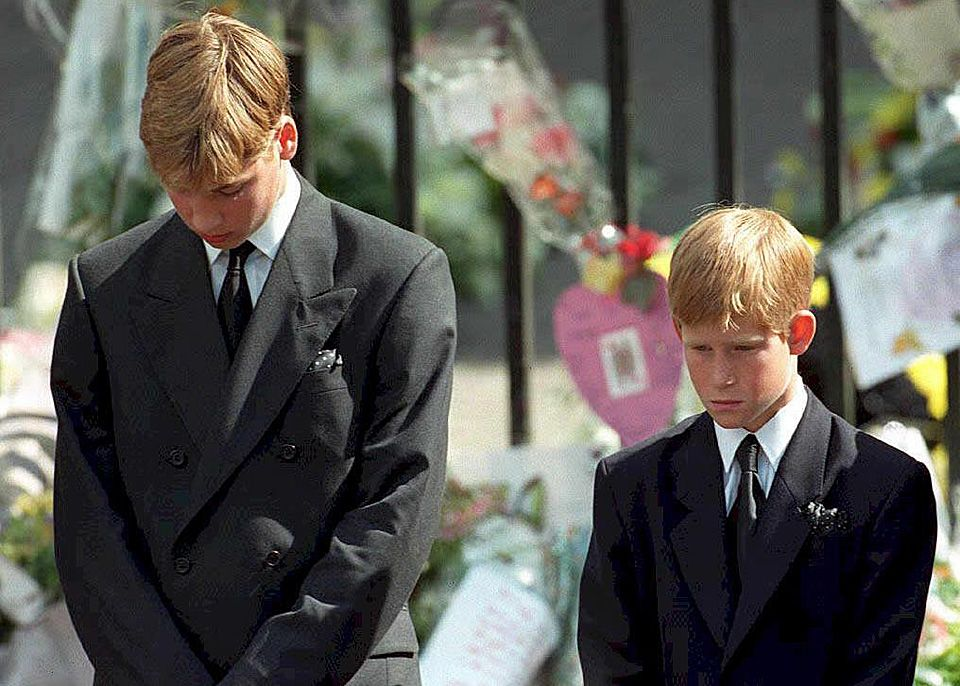 Princes William & Harry waiting to walk in the funeral cortege behind their mother's casket, September