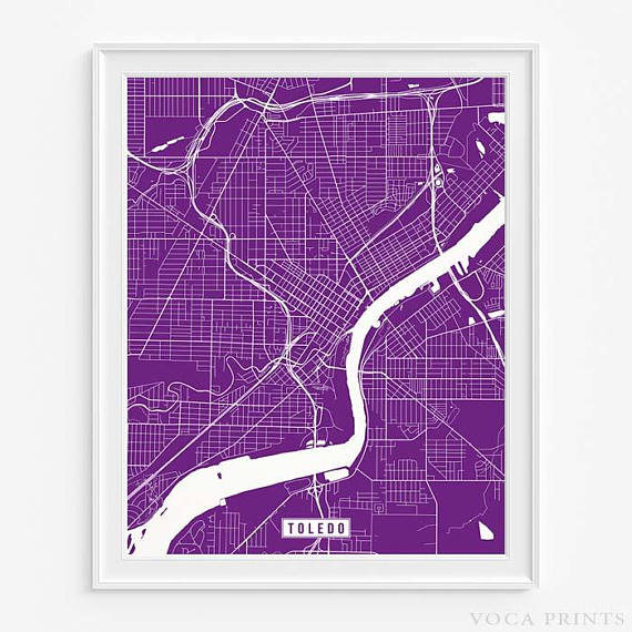 Toledo Ohio Street Map Wall Art Poster Starting at $9 90 with 42