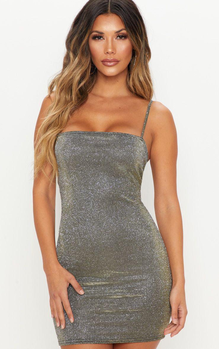 651dfec07434 Gold Glitter Strappy Bodycon Dress | Dresses | PrettyLittleThing USA