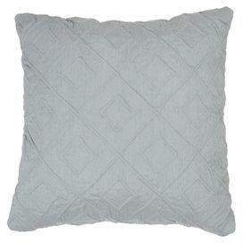 "Throw pillow with a diamond motif.      Product:  Pillow  Construction Material: Polyester  Color: Teal  Features:   Insert included  Zippered cover  Dimensions: 18"" x 18""     Cleaning and Care: Dry cleaning recommended"