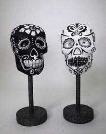 """Catrina Mann Head Masks - Katherine's Collection – Black Bow Halloween Shoppe. These beautiful standing Catrina Mann masks are part of the Drop Dead Gorgeous line, and will instantly add a glittering edge to your decor. Each hand-painted Day of the Dead mask is finished with rhinestone and pearl accents. Gorgeous additions to your collection! 16"""" Katherine's Collection. Sold as a set of two. FREE SHIPPING!"""