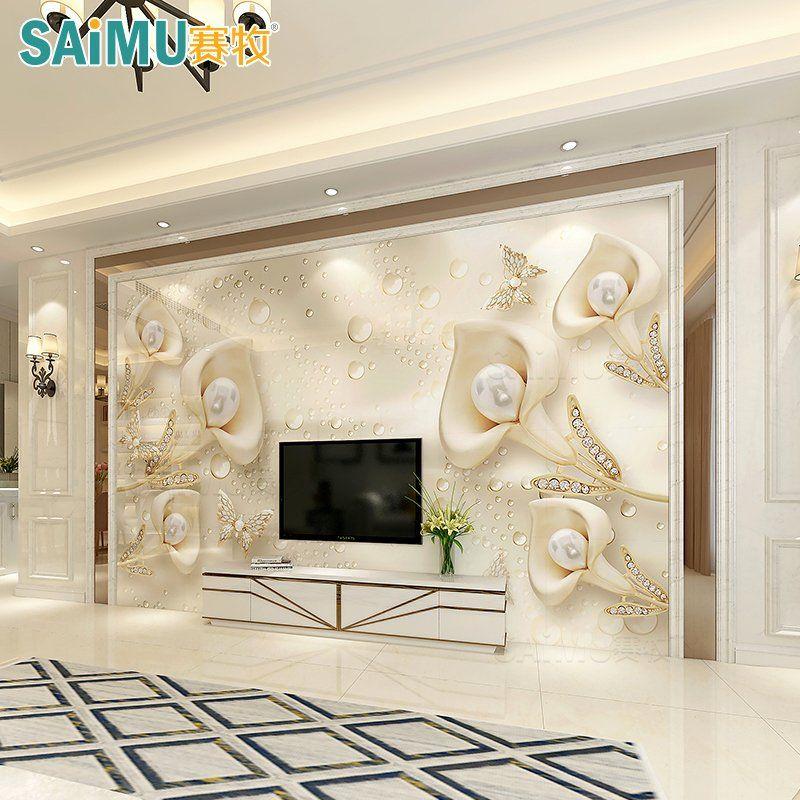 European Bedroom Interior Design Luxury Tv Background Wall Tile European Style Living Room Simple European Decoration Atmosphere Video Wall Border Simple Stone