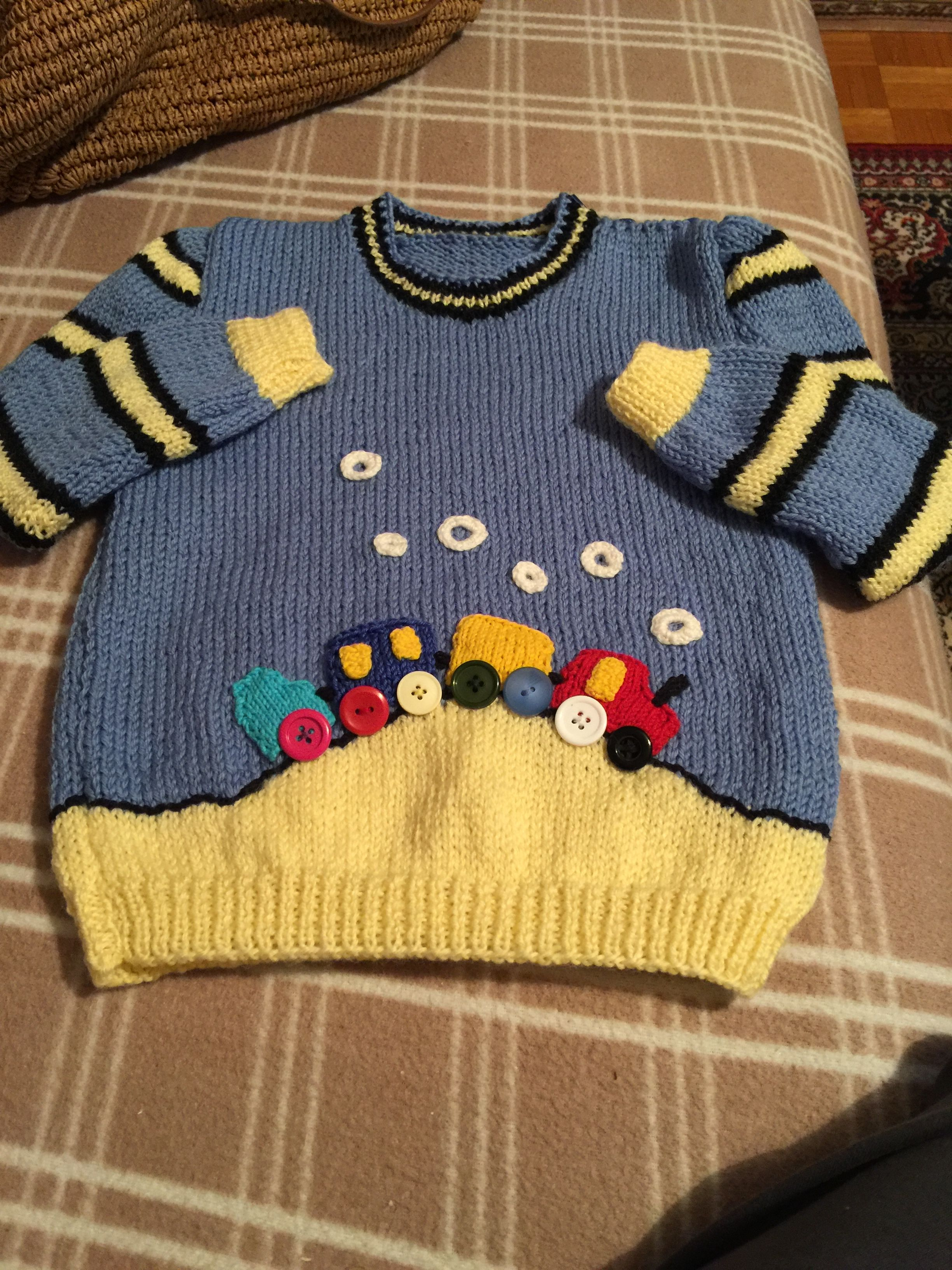 Baby Boy Sweater - 12 to 18 Month Size Wool Pullover With Colorful ...