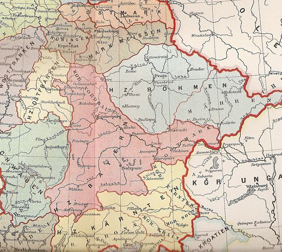 Antique Map of Germany in the Year 1000 1895 Historical Map OId
