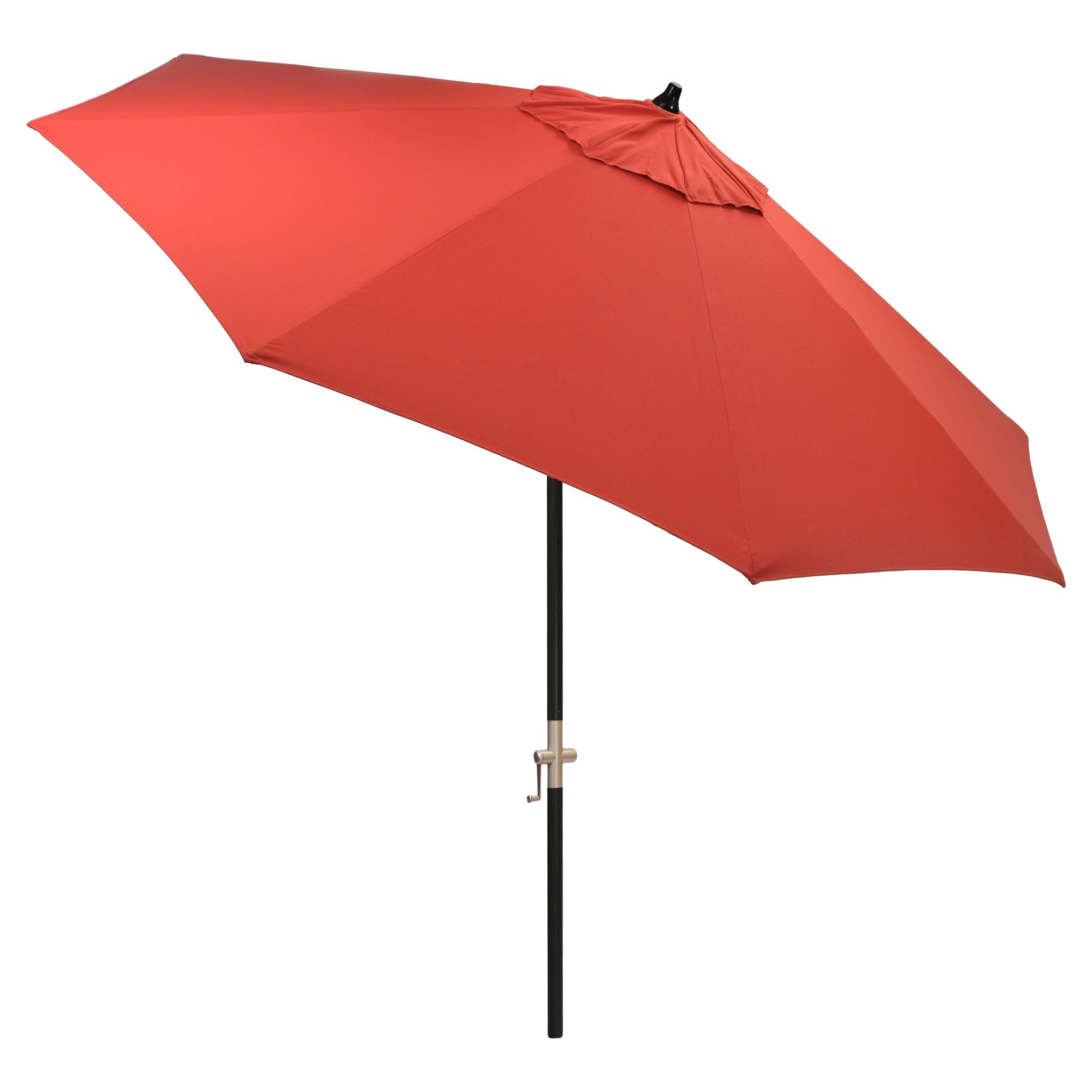 9 round sunbrella umbrella jockey red black pole smith
