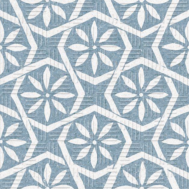 Carrelage imitation ciment fleuri bleu 20x20 cm AREA15 Botanic Blue ...