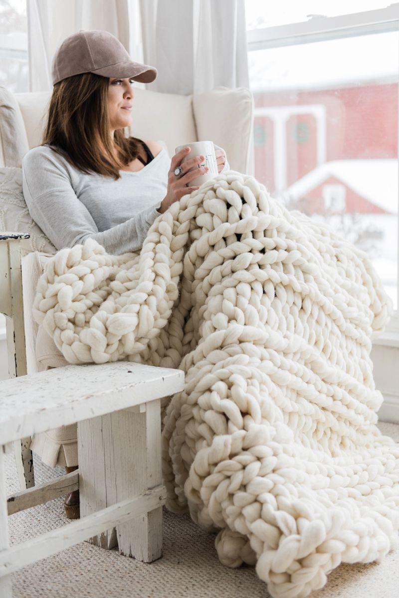 handmade chunky knit wool blanket | grosses mailles, filets et laine