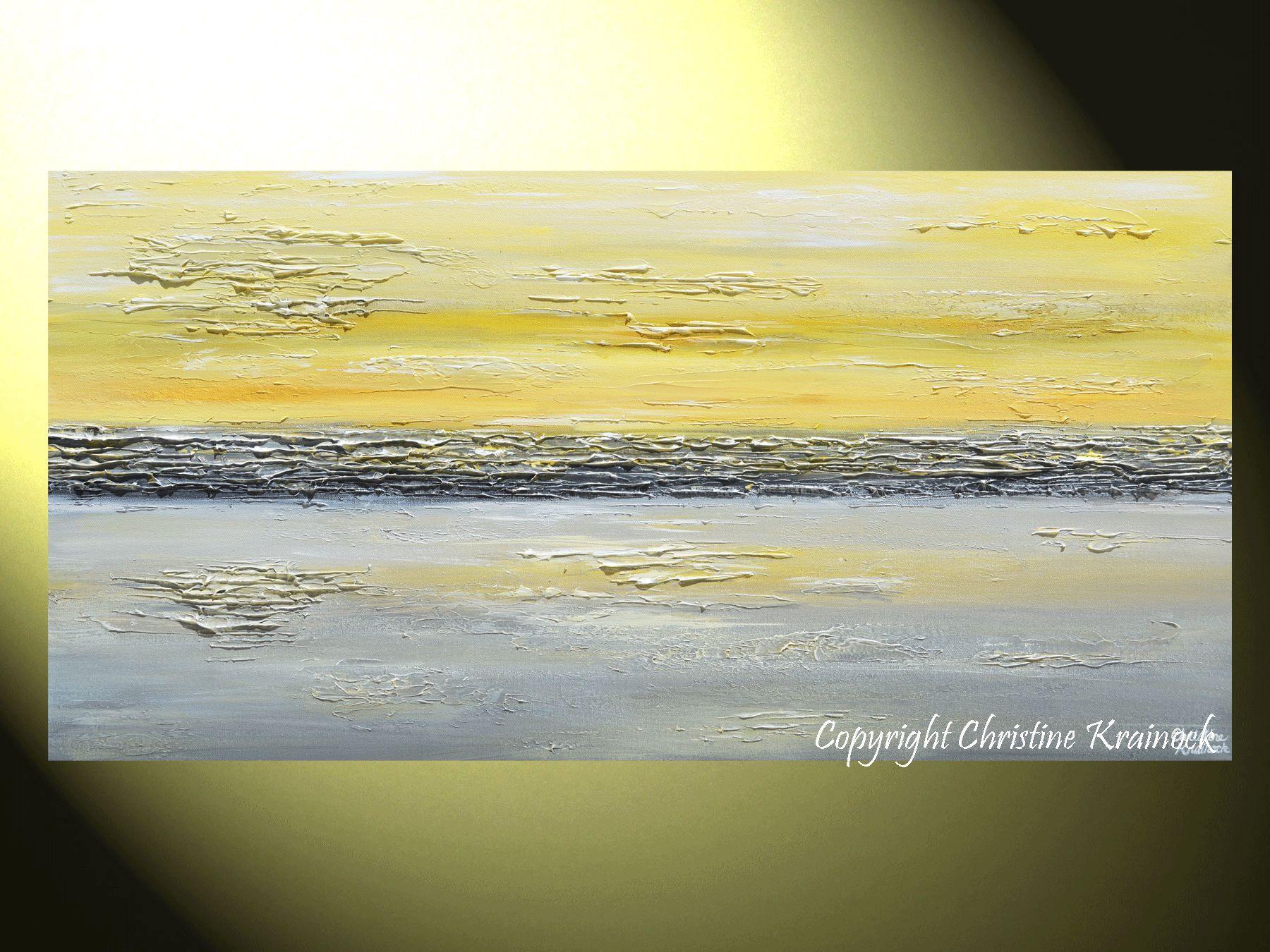 GICLEE PRINT Art Abstract Painting Yellow Grey Wall Art Coastal ...