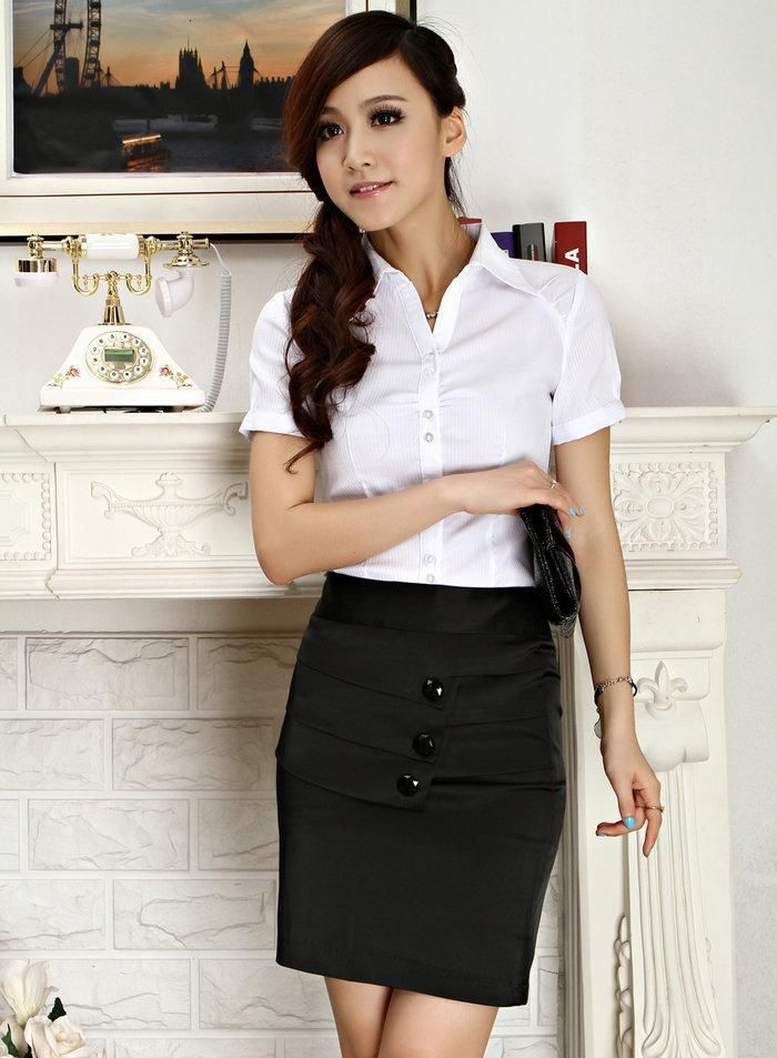 Fashion Women Formal Skirt Suits Work Wear Sets Shirts and Skirts ...