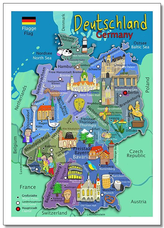 Illustrated kids wall map of Germany In both German and English