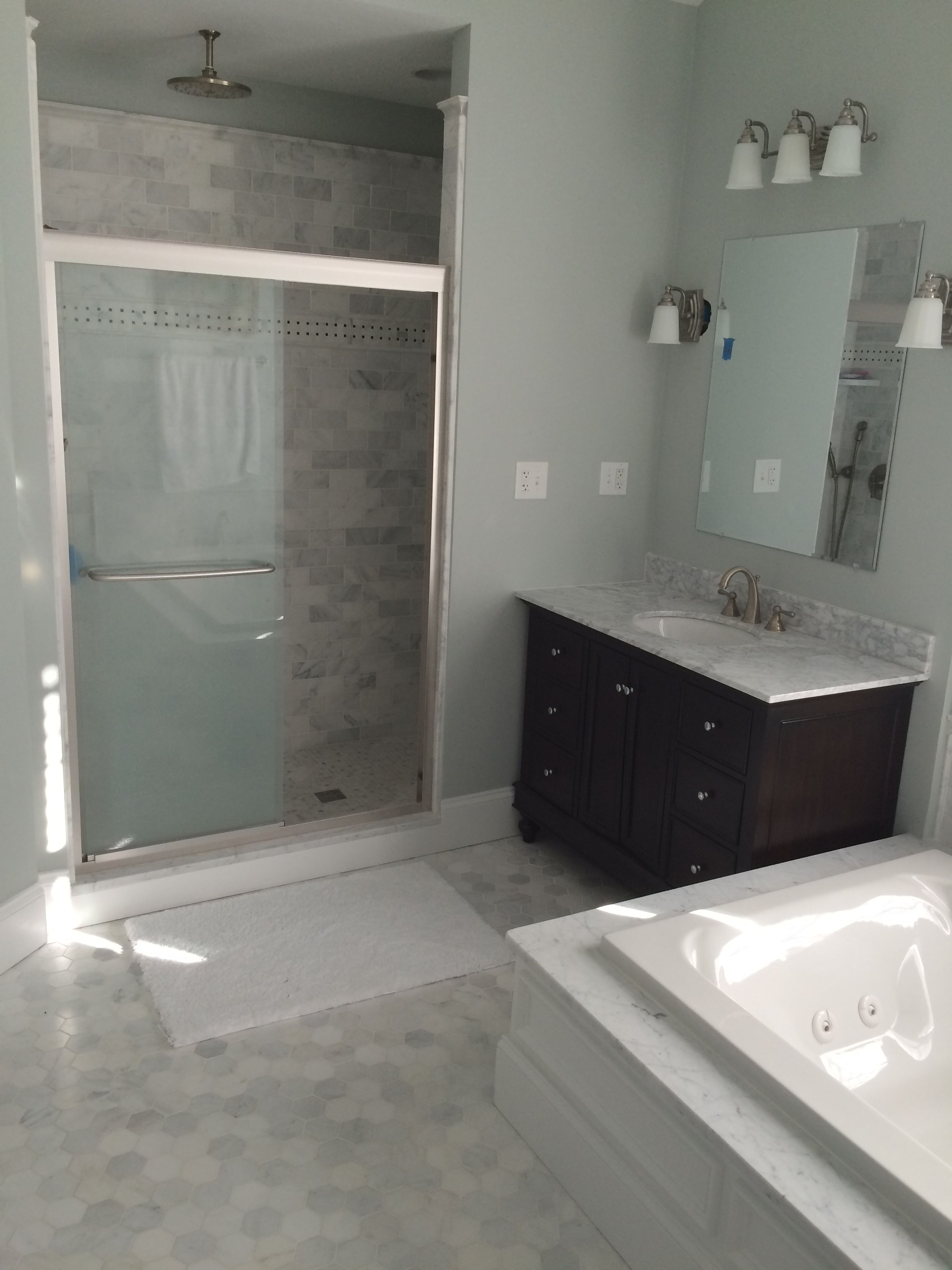 Sure Fix Remodeling of Easton PA master bathroom white gray marble espresso vanity two vanities in this room jetted tub