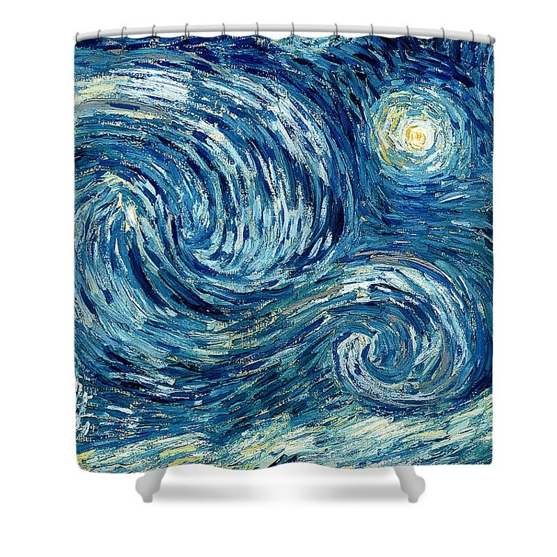 Detail Of The Starry Night Shower Curtain For Sale By Vincent Van