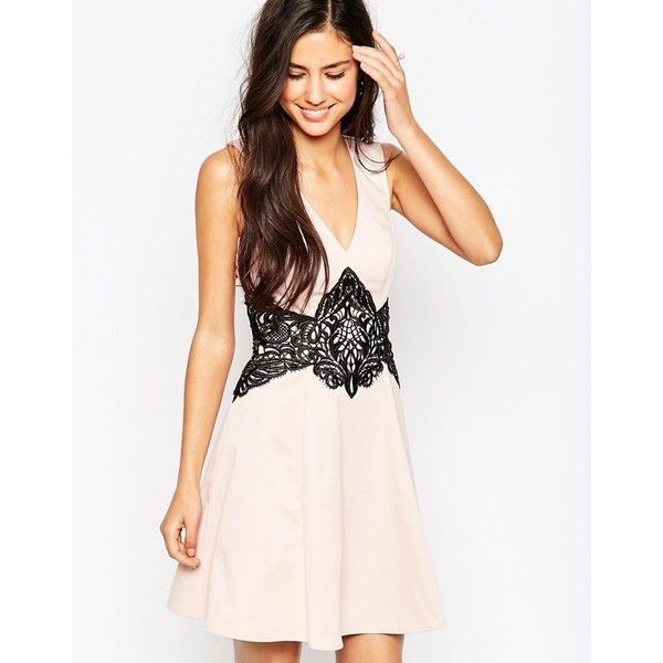 bf032141fa5da Lipsy Skater Dress With Lace Waist ($86) ❤ liked on Polyvore featuring  dresses, nude, lacy dress, white skater dress, skater dress, lace dress and  lace ...
